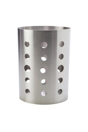터너, ladles, 숟가락, 젓가락 등, 스테인레스 스틸로 만든 주방 용품 컨테이너 흰색 배경에 격리 됨.