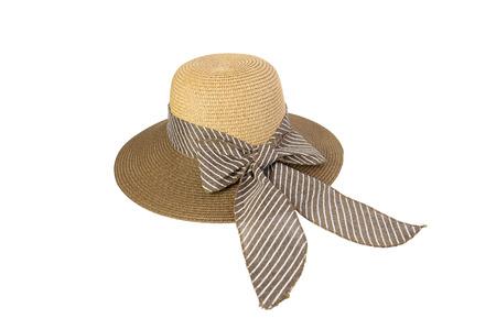갈색, 흰색 배경에 고립 된 핑크 나비 넥타이 장식과 짠 모자.