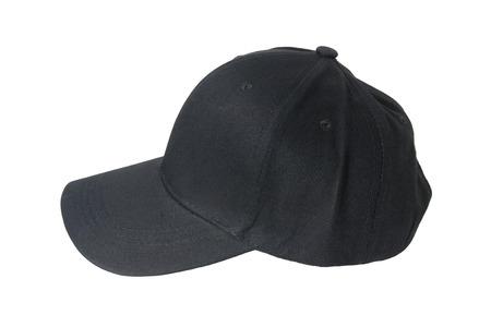 야구 검은 모자, 흰색 배경에 격리 됨.