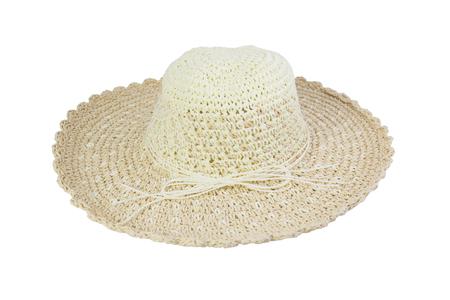 짠된 베이지 색 모자 로프, 흰색 배경에 고립으로 장식.