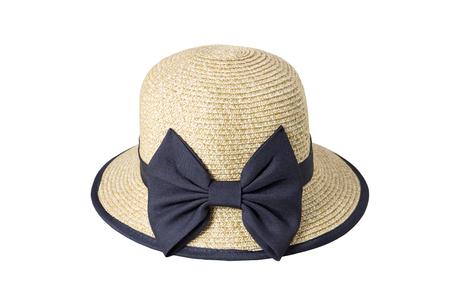 검은 천으로 장식하는 짠된 모자 흰 배경에 고립 된 리본으로 묶여. 스톡 콘텐츠 - 88045017