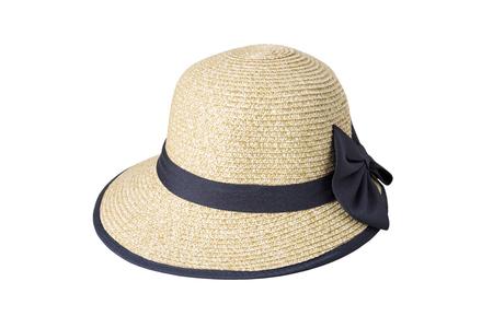 검은 천으로 장식하는 짠된 모자 흰 배경에 고립 된 리본으로 묶여.