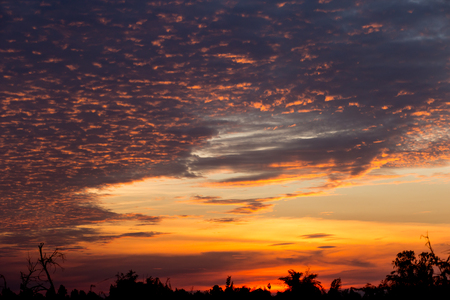 Golden color of dramatic clouds and sky after sunset at countryside.