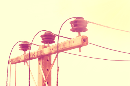 Old electric pole, which has been used for a long time, Vintage style. 스톡 콘텐츠 - 103022490