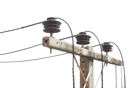 Old electric pole, which has been used for a long time, Isolated on a white background. 스톡 콘텐츠 - 102874417