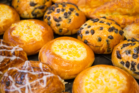 Cake and Bakery Sold on the counter of the bakery.