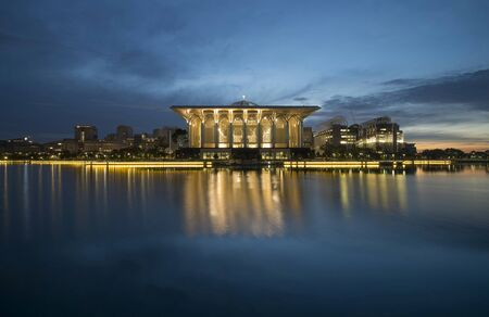 12 hour: Putrajaya December 12, 2015, mosque during blue hour