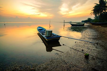 Fishing boat at fisherman village during Sunrise, Jubakar Tumpat Kelantan, Malaysia