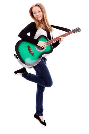 young beauty music girl with guitar on white background  photo