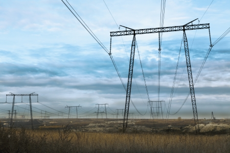 Electrical power station, Voltage power lines  photo