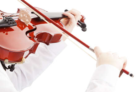 Teenager playing the violin, white background Stock Photo