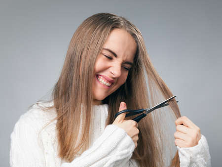 bad hair day: teenage girl on her bad hair day  Stock Photo