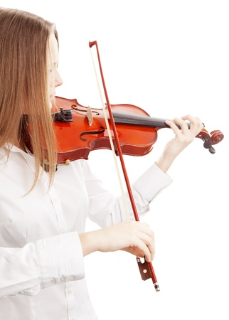 woman violin: Isolated on white background Stock Photo