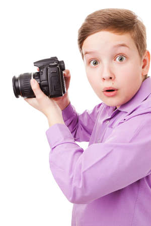 The portrait of a teenager boy, Photographer, isolated on a white background  Stock Photo