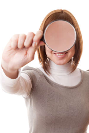 Portrait woman, Magnifying glass, isolated on a white background  photo