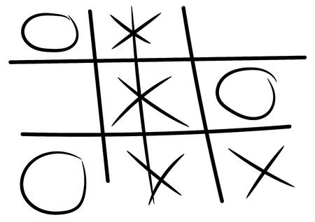 vector hand drawn noughts and crosses, Ilustração