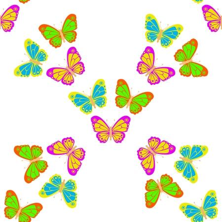 Kilka pięknych wielobarwnych motyli na tle. Wzór tapety bez szwu. Rozciągnij się do dowolnego rozmiaru bez utraty jakości. Ilustracja wektorowa.