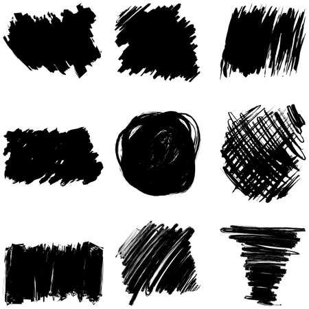 Vector set of pencil hatching in a free style. Easy and free application and change of shape, color, direction. Illusztráció