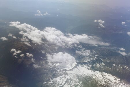 Panorama of Europe through the window of the plane with the flight altitude of 5000 km