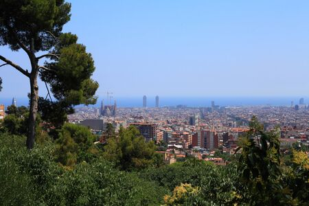 Panorama of Barcelona s hot, cloudless morning in July  Stock Photo