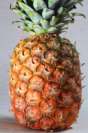 Pineapple tropical fresh with green leaves close-UPS