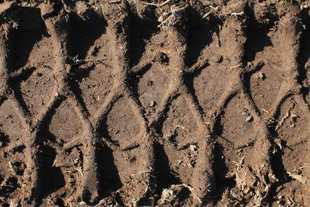 Photo trace left by колеом big machines on the damp ground  photo