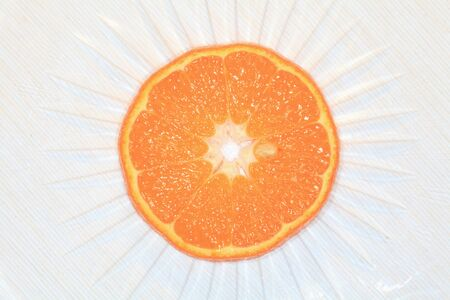 Slice of Mature Mandarin orange closeup photo