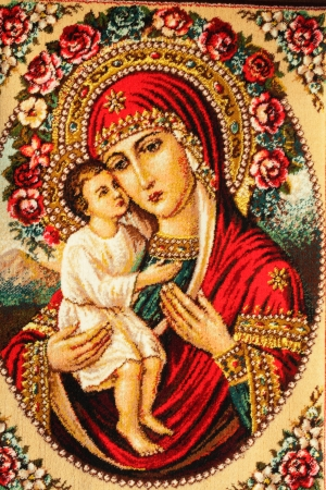 orthodoxy: Carpet with the image of the Orthodox icon closeup natural bright light. Stock Photo