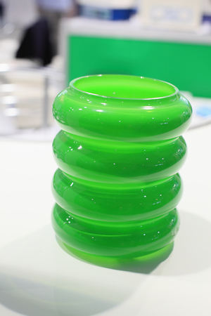 Vessel green color of the original form closeup by artificial light  Stock Photo