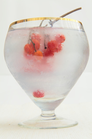 A glass of light transparent glass with ice and frozen berries mountain ash closeup on a light background.