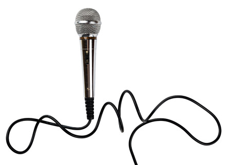 Microphone with cord isolated on white background Stock Photo