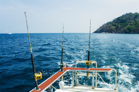 Fishing trolling with motor boat in the tropical sea Stock Photo