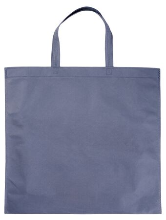 roomy: Sample gray non-woven bag isolated on white Stock Photo