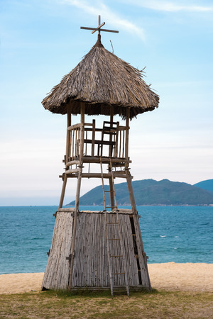 Lifeguards tower on the beach of a tropical resort