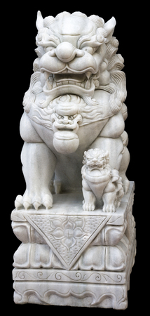 superstitions: Marble lion sculpture on the black background Stock Photo