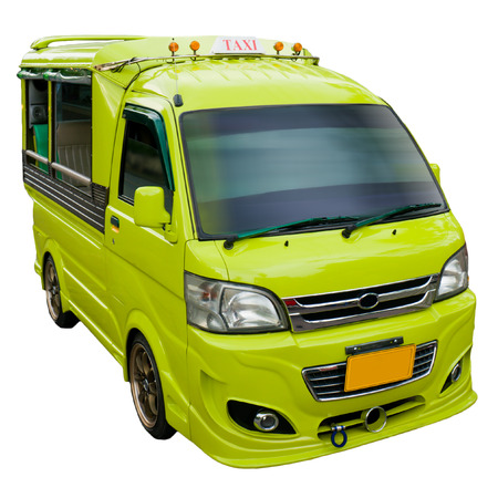 Yellow tuk-tuk - Thai taxi, isolated on white