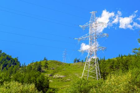 High voltage power lines in mountainous terrain