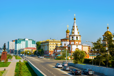 View of the Cathedral of the Epiphany and the monument to the founders of Irkutsk, Russia
