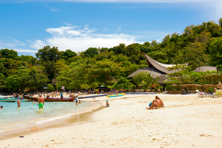 Banana beach on Coral (Ko He) island on a sunny day, Phuket, Thailand Фото со стока