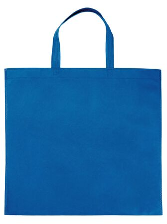 Sample blue non-woven bag isolated on white