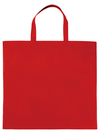 Sample red non-woven bag isolated on white