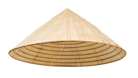 Asian cone hat isolated on white 版權商用圖片