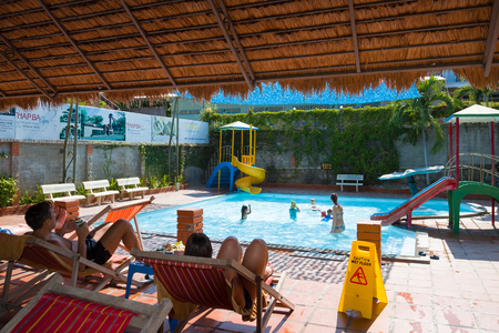 Nha Trang, Vietnam - May 7, 2015: recreation area with a swimming pool in the spa resort of Thap Ba Hot Springs with hot mud baths and mineral springs