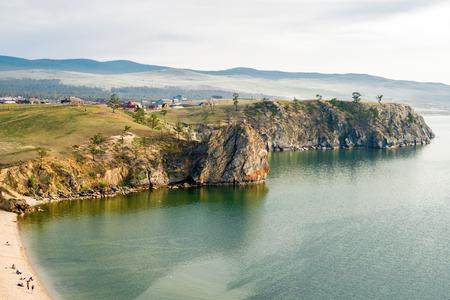 "Rocky coast, incl. rock ""Bogatyr"" (warrior, hero of Russian epics) Olkhon Island, Lake Baikal, Siberia, Russia"