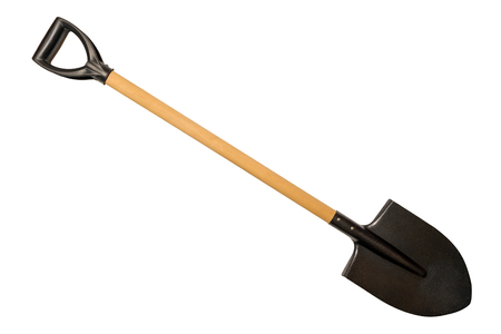 Shovel with wooden handle isolated on white