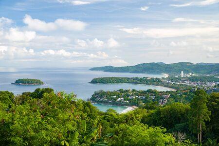 Popular beaches of Phuket - Kata Noi, Kata and far away Karon. View from Karon View Point.