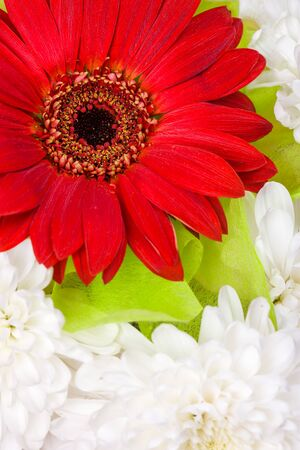 A bouquet of gerbera flowers, chrysanthemums and colored paper
