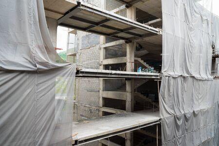 Construction of the hotel. Frame-concrete technology. Zdjęcie Seryjne - 126863356