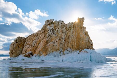 Sharga-Dogan Island and Lake Baikal in winter. Siberia, Russia. Фото со стока