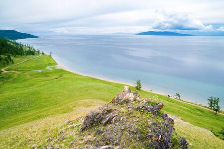 Beautiful view of the lake Hovsgol from the mountain. Mongolia. Фото со стока